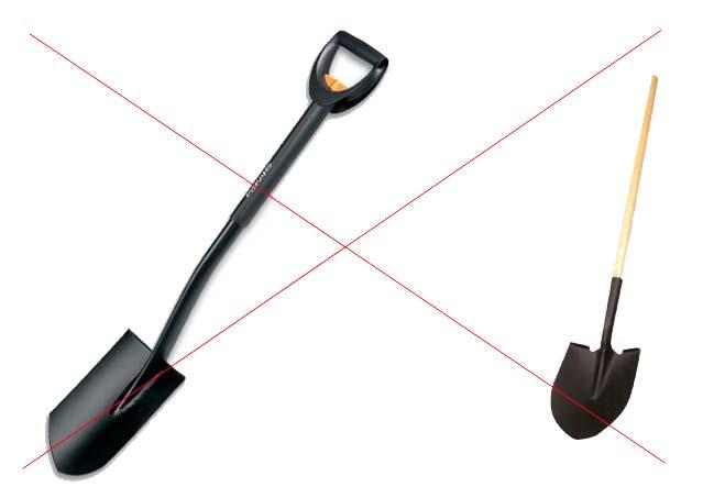 Лопаты со штыком под углом не подходят для земельных работ в плотной почве