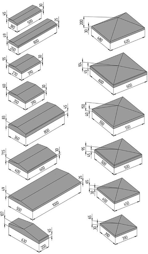 Основные размеры крышек (колпаков) для столбиков забора из профнаслита