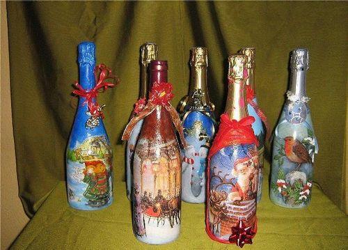 dekupazh-butylki-shampanskogo-na-novyj-god-master_2 Декупаж бутылок на Новый год. Украшение бокалов шампанского