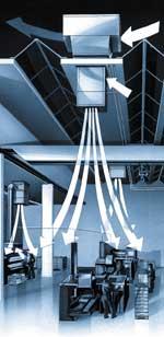 Агрегаты HOVAL обеспечивают раздачу воздуха в помещении и организацию воздухообмена, используя закономерности аэродинамики затопленных струй.